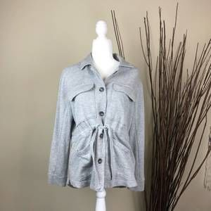 CASLON | Knit Utility Jacket Gray Small Button S
